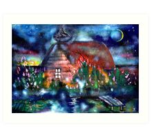 Countryside House at Night Art Print