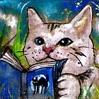 Cat reading book by mikejohnson