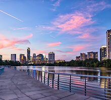 Austin Skyline at sunset from the Boardwalk by Beecreekphoto