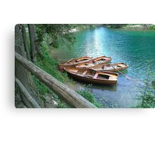 Braies Lake with Rowboats Canvas Print