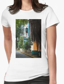 San Juan, Puerto Rico - Gorgeous Caribbean Colors and Flora Womens Fitted T-Shirt
