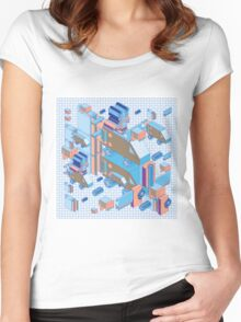 F graphics pattern 4 Women's Fitted Scoop T-Shirt