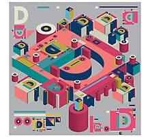 alphabet 3D letter D Photographic Print