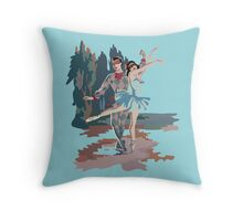 Mid Century Harlequin Ballet Dancers Throw Pillow