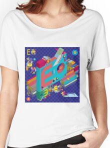 vector alphabet 3D letter E Women's Relaxed Fit T-Shirt