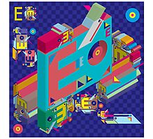 vector alphabet 3D letter E Photographic Print