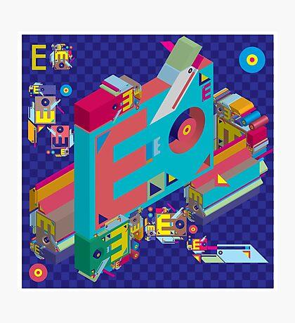 vector alphabet 3D letter E Photographic Print