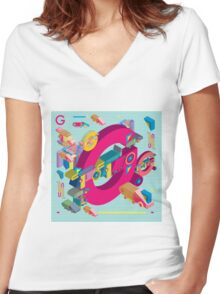 vector alphabet 3D letter G Women's Fitted V-Neck T-Shirt