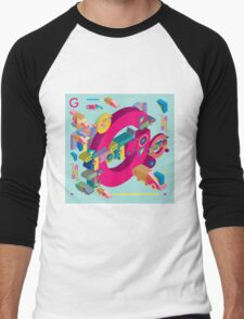 vector alphabet 3D letter G Men's Baseball ¾ T-Shirt