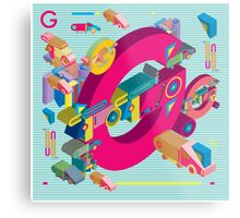 vector alphabet 3D letter G Metal Print
