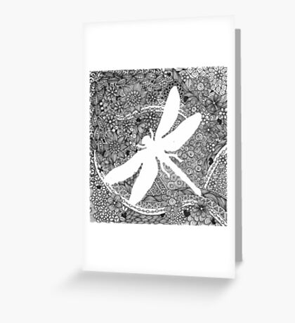 White Dragonfly Greeting Card