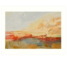 Zoom to Red house on the lake Art Print