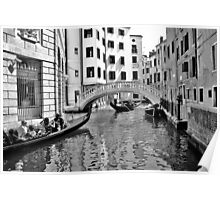 black and white venise Poster
