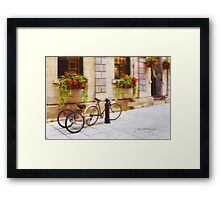 Tandem Bicycle and Flowers 2 Framed Print