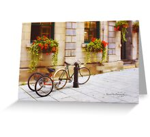 Tandem Bicycle and Flowers 2 Greeting Card