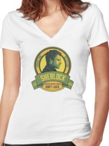 Brownstone Brewery: Sherlock Holmes Honey Lager Women's Fitted V-Neck T-Shirt