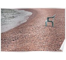 Empty Chair on Pebble Beach Poster