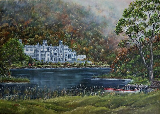"""""""Mist over Kylemore Abbey"""" - Oil Painting by Avril Brand"""