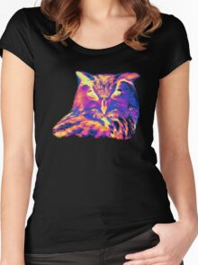 Psychedelic Spectrum Owl Women's Fitted Scoop T-Shirt
