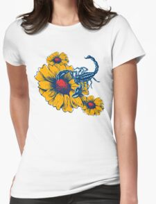Scorpion Flowers Womens Fitted T-Shirt