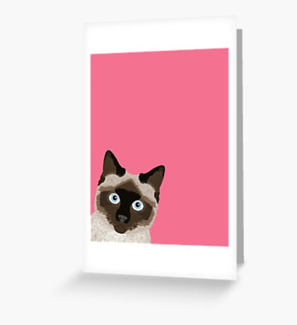 Peeking Siamese Cat - Funny cat meme for cat lovers, cat ladies gifts for cat people Greeting Card