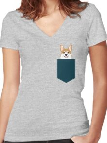 Teagan - Corgi Welsh Corgi gift phone case design for pet lovers and dog people Women's Fitted V-Neck T-Shirt