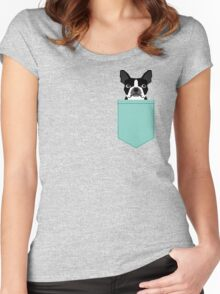 Logan - Boston Terrier pet design with bold and modern colors for pet lovers Women's Fitted Scoop T-Shirt