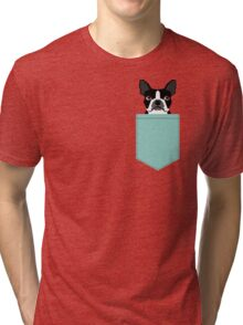 Logan - Boston Terrier pet design with bold and modern colors for pet lovers Tri-blend T-Shirt
