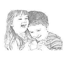 Twins Pencil Sketch Photographic Print