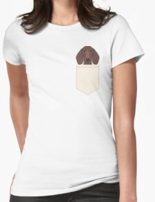 Piper - Dachshund, weener dog, wiener dog, pet portrait, sausage dog, pet Womens Fitted T-Shirt