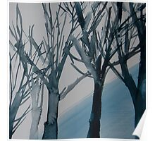 Trees in winter watercolour Poster