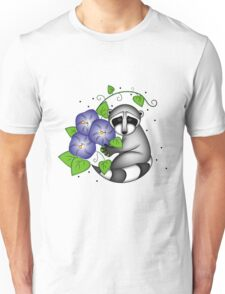 Raccoon with Morning Glories Unisex T-Shirt