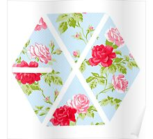 EXO - Blue Floral Poster
