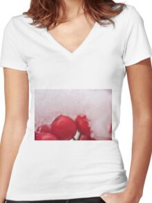Berries in the Snow, As Is Women's Fitted V-Neck T-Shirt