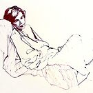 Sleeping girl, oil sketch by Roz McQuillan