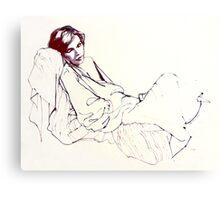 Sleeping girl, oil sketch Canvas Print
