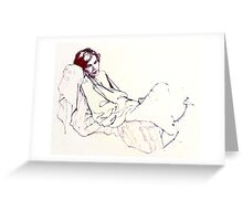 Sleeping girl, oil sketch Greeting Card