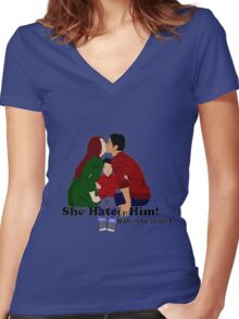 Jily She Hated Him Women's Fitted V-Neck T-Shirt