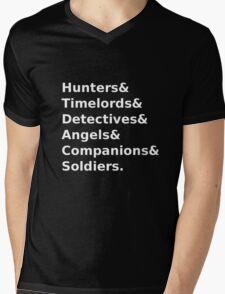 SuperWhoLock Text Mens V-Neck T-Shirt