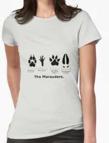 Marauders Animagus Footprint  Womens Fitted T-Shirt