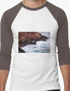 Gulls Rockliffe at Sunset, Slains Castle  (North Sea, Cruden Bay, Aberdeenshire, Scotland) Men's Baseball ¾ T-Shirt