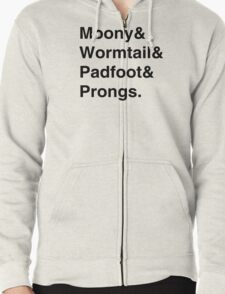 Moony & Wormtail & Padfoot & Prongs. Zipped Hoodie
