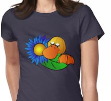 Platypus with Gerbera Daisy Womens Fitted T-Shirt