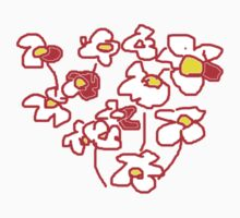 Red and White Flowers T SHIRT Kids Clothes