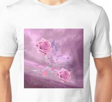 Soft Pink Music Notes & Roses Abstract Unisex T-Shirt