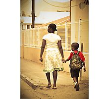 Momma walks me to school... St Martin, NA Photographic Print