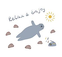 Cartoon baby seal Photographic Print