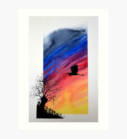 Willow sun rise. Art Print