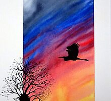 Willow sun rise. by Robert David Gellion