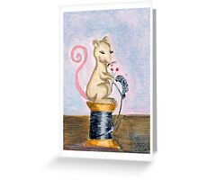 Miss Mouse Knitting Greeting Card
